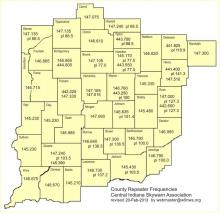 Central Indiana Skywarn repeater map